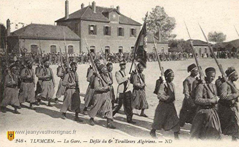 7247 tlemcen la gare defile du 6eme tirailleurs algeriens