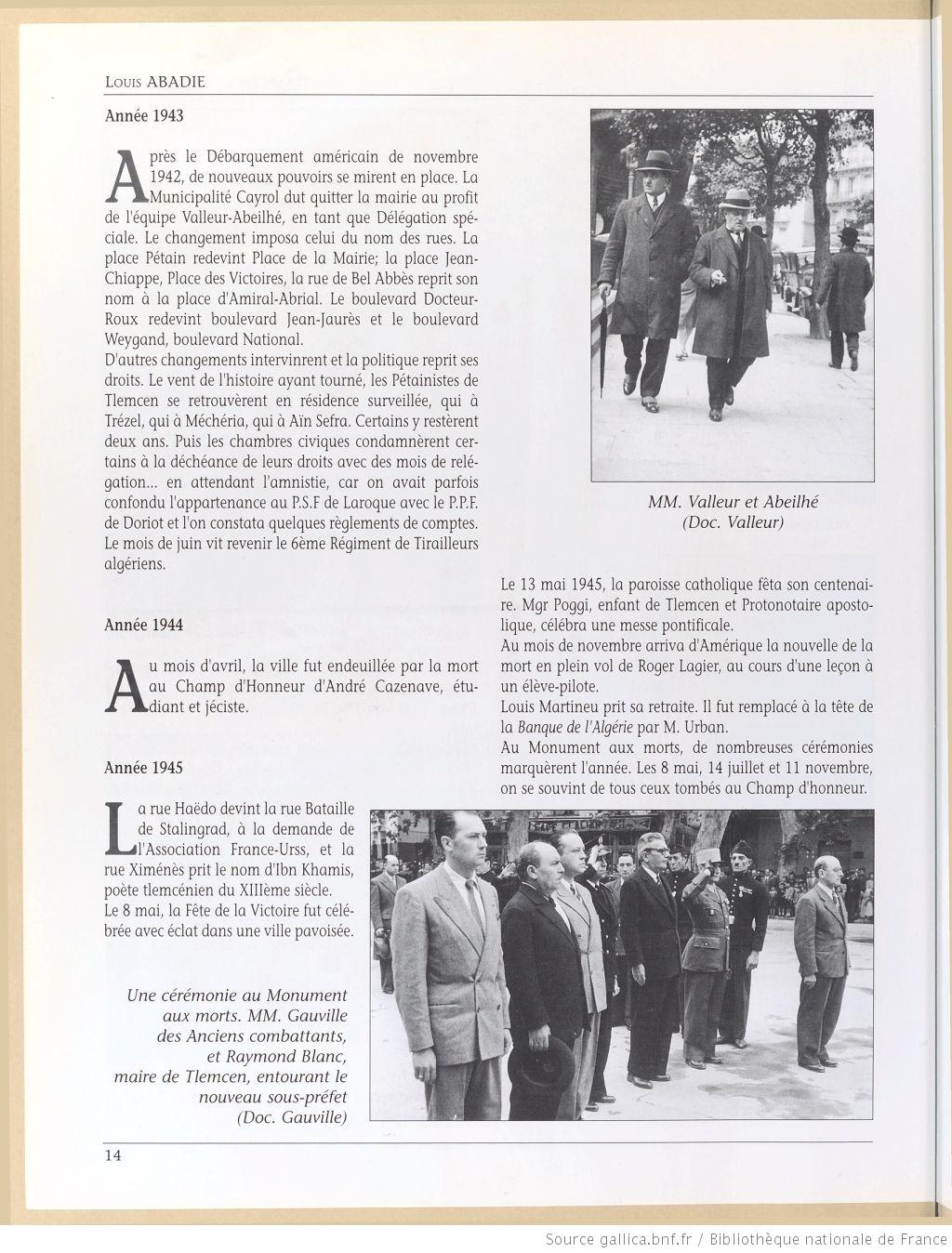 Tlemcen au passe rapproche 1943